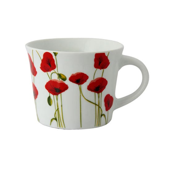 Poppy Breakfast Mug White