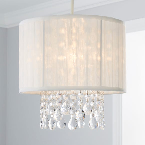Voile Jewel Shade Ivory Easy Fit Pendant Ivory