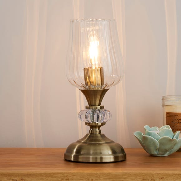 Hurricane Antique Brass Table Lamp Brown
