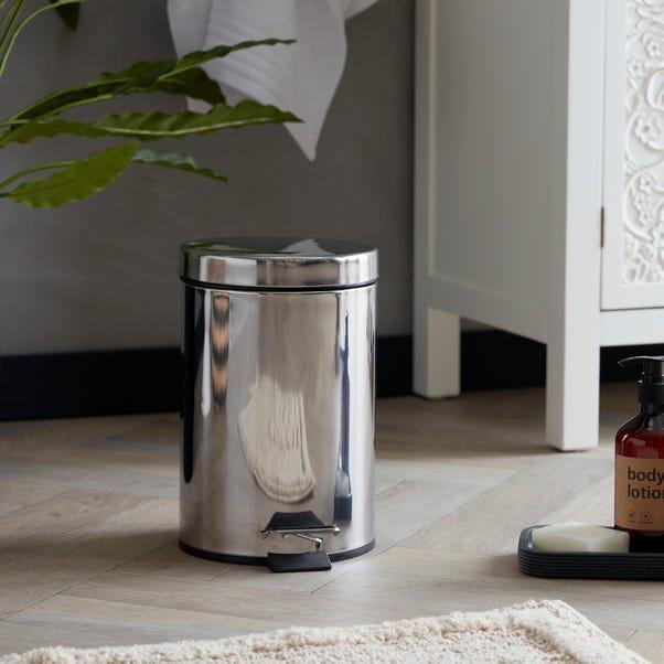 Bathroom Basics 3-Litre Silver Pedal Bin Steel