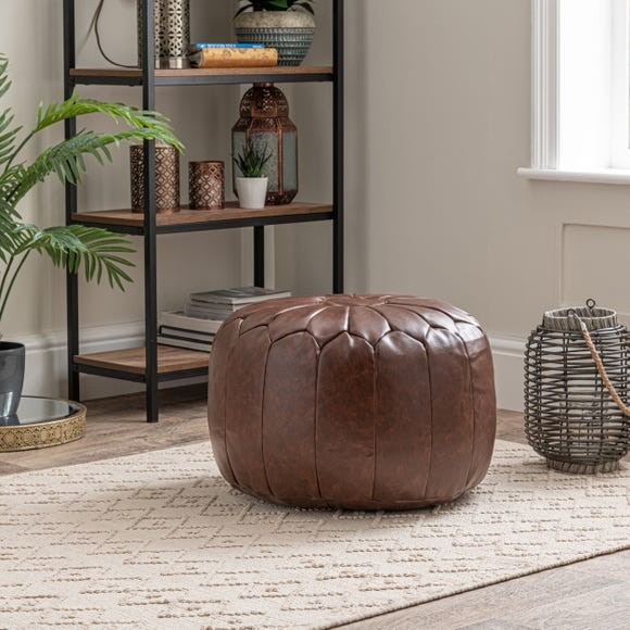 Moroccan Stitched Pouffe Tan (Brown)