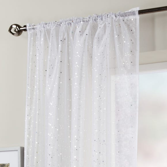 White Sparkle Single Slot Top Voile Panel  undefined
