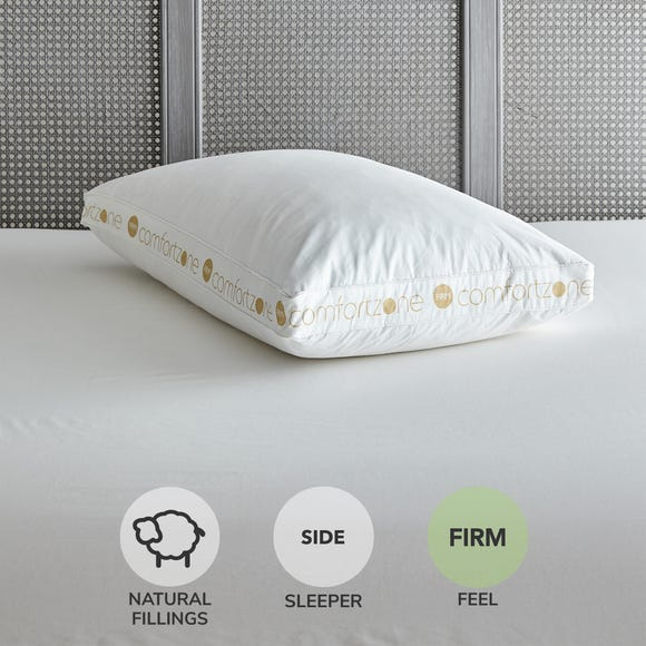 Comfortzone Duck Feather Firm-Support Walled Pillow White