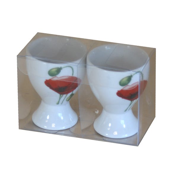 Poppy Pair of Egg Cups White