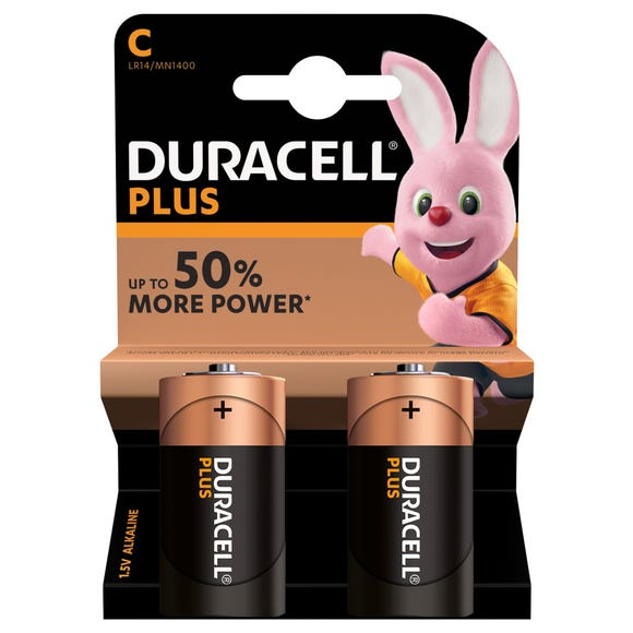 Duracell Plus C Batteries Pack of 2 MultiColoured undefined