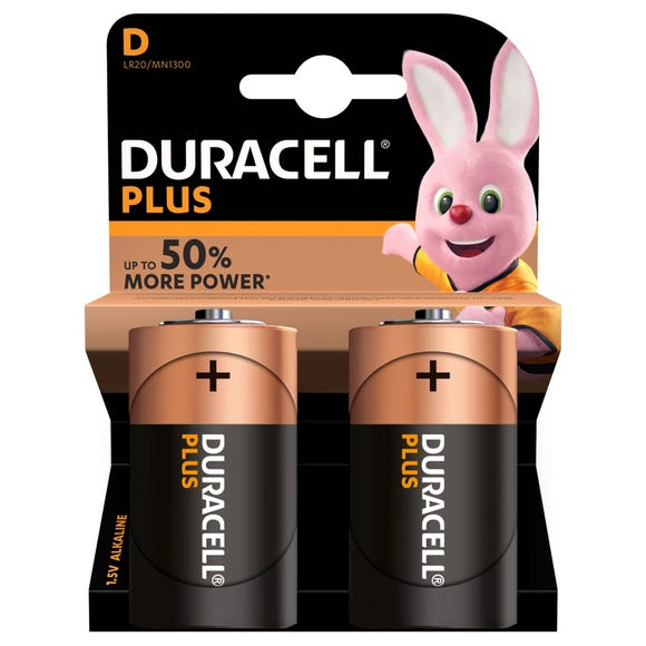 Duracell Plus D Batteries Pack of 2 MultiColoured undefined