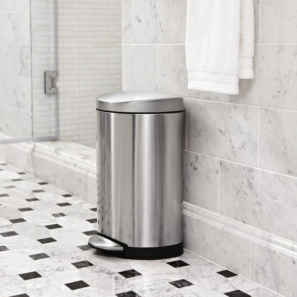 simplehuman Deluxe 10 Litre Semi-Round Stainless Steel Pedal Bin Silver