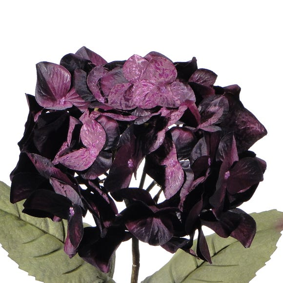 Artificial Hydrangea Purple Single Stem 75cm Midnight (Purple)