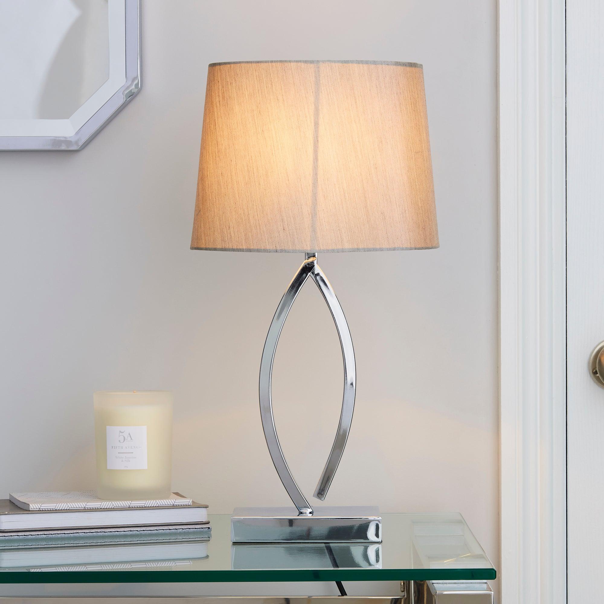 Como Table Lamp Chrome Shade Matt Silver