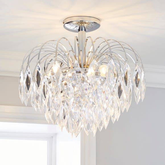 Parla 3 Light Chrome Semi-Flush Ceiling Fitting Silver