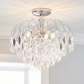 Parla 3 Light Chrome Semi-Flush Ceiling Fitting