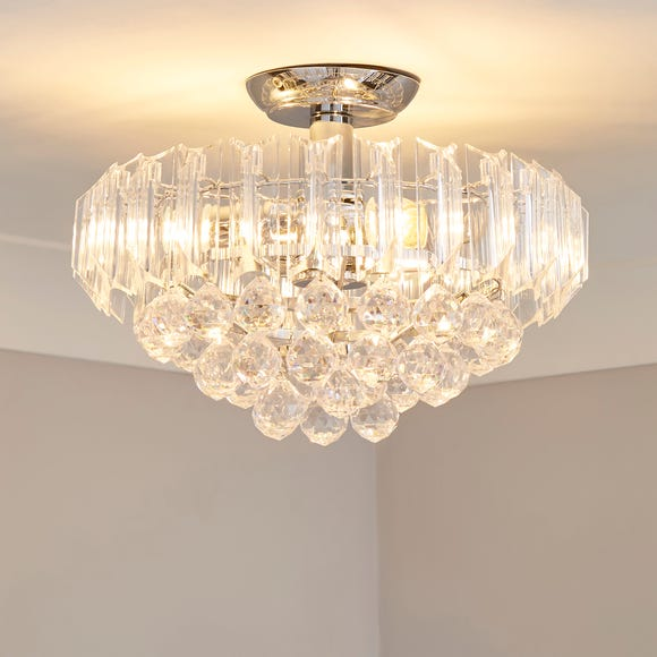 Venetian 2 Light Jewel Chrome Ceiling Fitting Silver