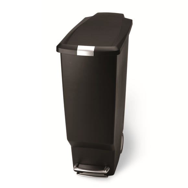 simplehuman 40 Litre Slim Black Recycle Bin Black