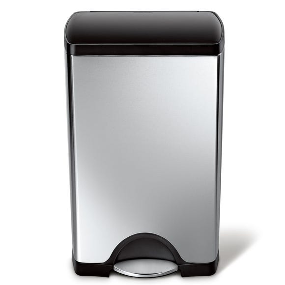 simplehuman 38 Litre Rectangle Stainless Steel Pedal Bin Silver
