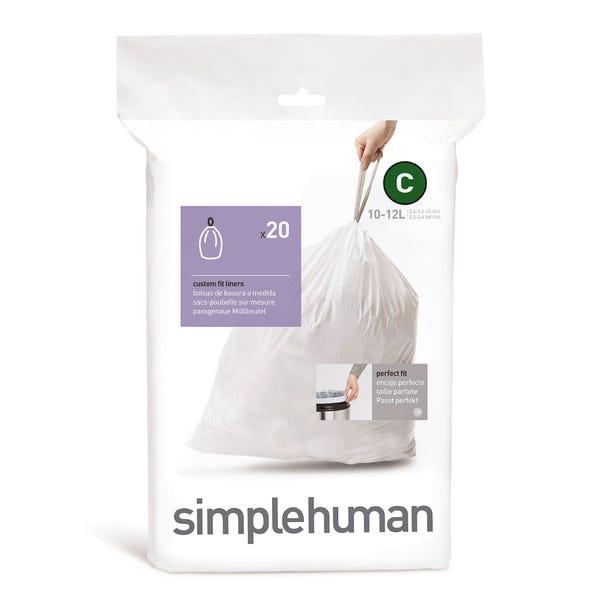 simplehuman C 10 - 12 Litre Bin Liners White