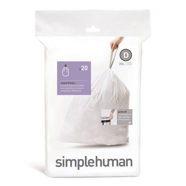 simplehuman D 20 Litre Bin Liners White