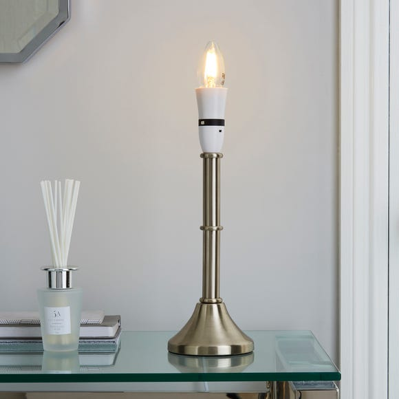 Smooth Satin Chrome Candlestick Table Lamp Base Silver
