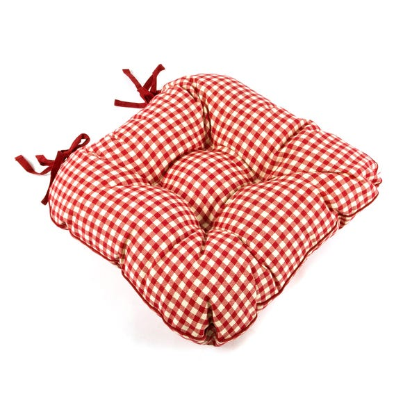 Red Gingham Check Seat Pad Red