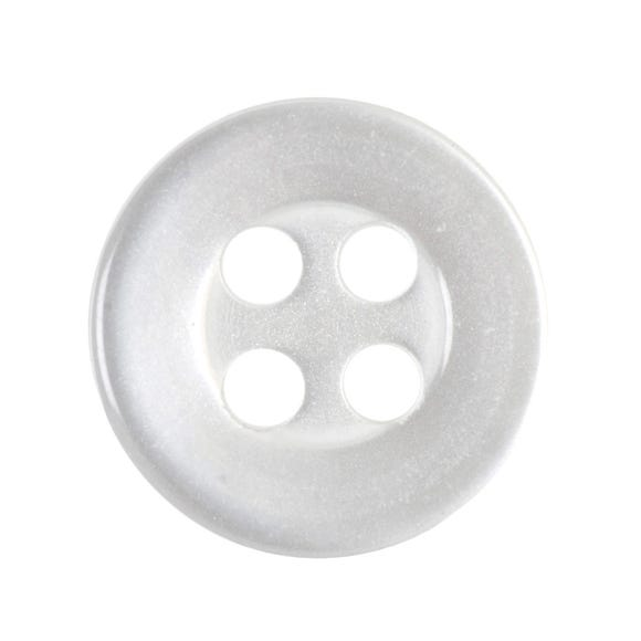 Pack of Thirteen Small White Buttons White