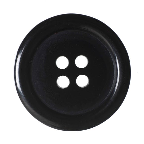 Black Round Rimmed Buttons 20mm Pack of 6 Black undefined