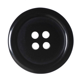 Black Round Rimmed Buttons 20mm Pack of 6