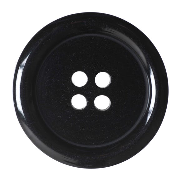 Black Round Rimmed Buttons 27.5mm Pack of 2 Black undefined