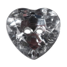 Heart Shaped Crystal Buttons 12mm Pack of 5