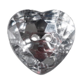 Heart Shaped Crystal Buttons 16mm Pack of 4
