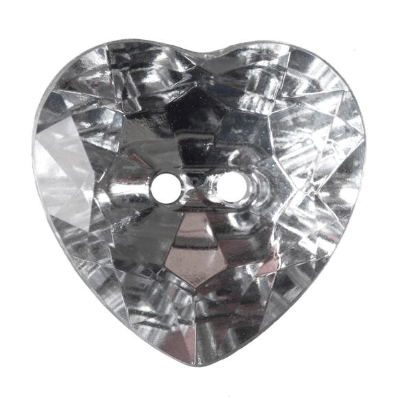 Heart Shaped Crystal Buttons 20mm Pack of 3 Clear undefined