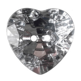 Heart Shaped Crystal Buttons 20mm Pack of 3