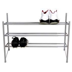 Silver 3 Tier Extending Shoe Rack