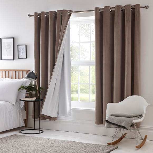 Blackout Eyelet Curtain Linings White undefined