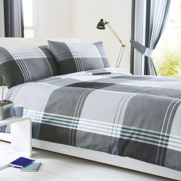 Taylor Blue Reversible Duvet Cover and Pillowcase Set Blue undefined