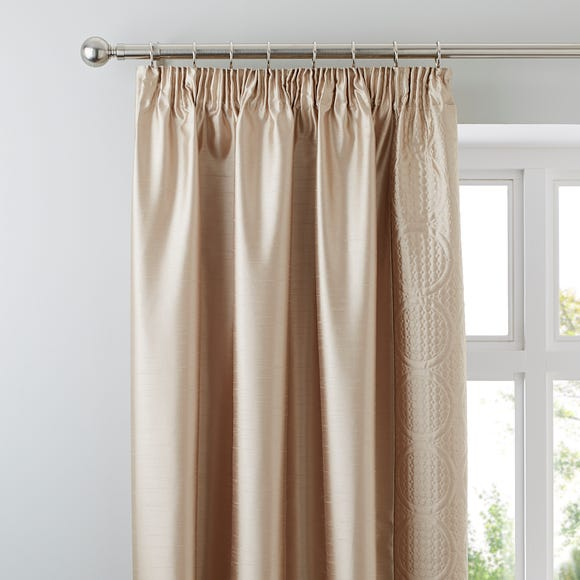 Circles Latte Thermal Pencil Pleat Curtains  undefined