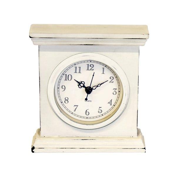Classic Elegance Rectangle Clock Cream