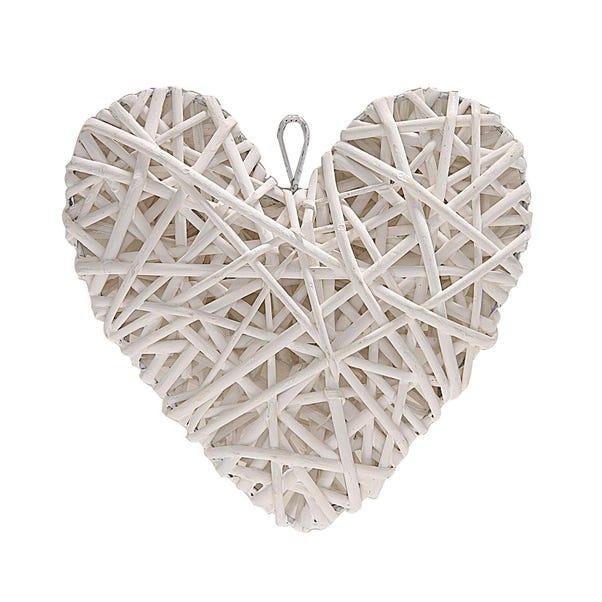 Classic Elegance Wicker Hanging Heart White