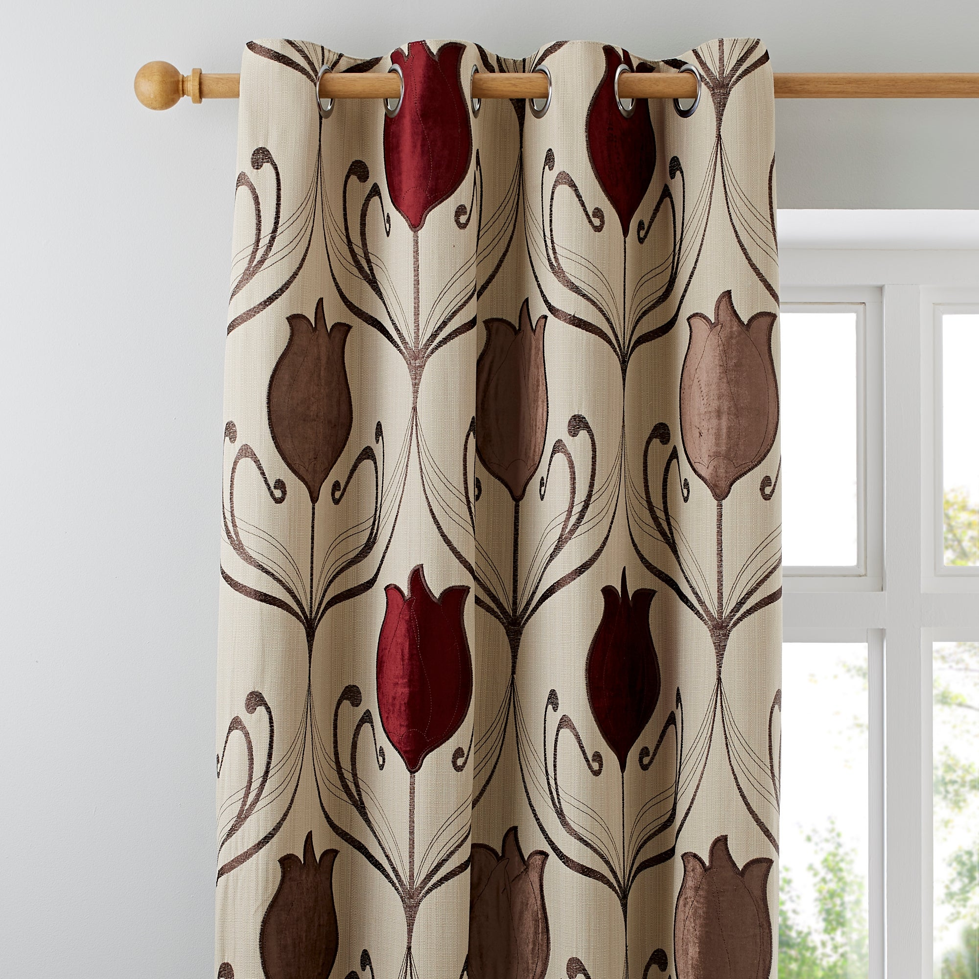 Click to view product details and reviews for Lalique Wine Eyelet Curtains Dark Wine Red.