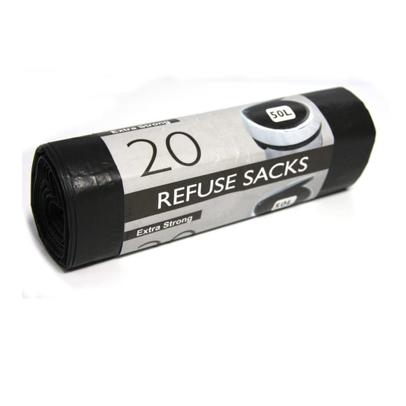 Pack of 20 Extra Strong Refuse Sacks Black