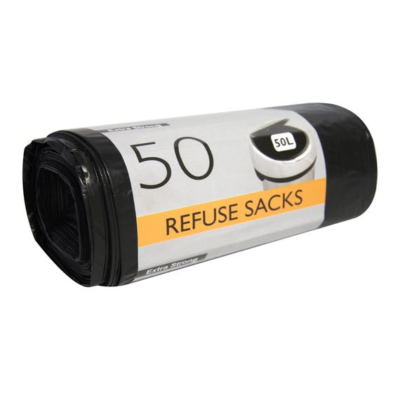 Pack of 50 Extra Strong 50 Litre Refuse Sacks Black