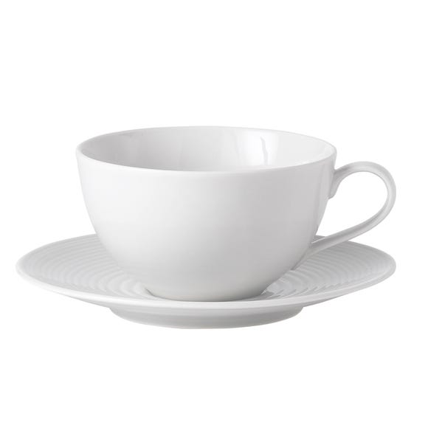 Gordon Ramsay by Royal Doulton White Maze Cup and Saucer Set White