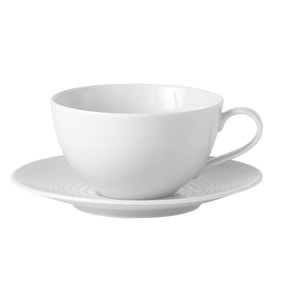 Gordon Ramsay by Royal Doulton White Maze Cup and Saucer Set