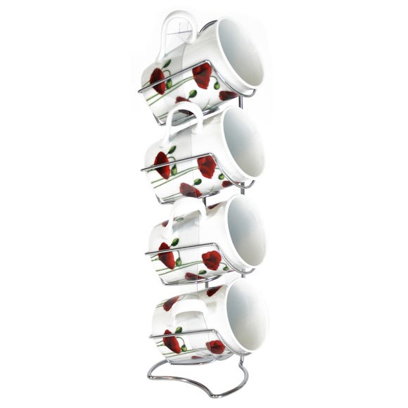 Poppy Set of 4 Mugs on Rack Red