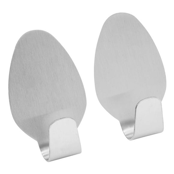 Stainless Steel Pack of 2 Self Adhesive Storage Hooks Silver