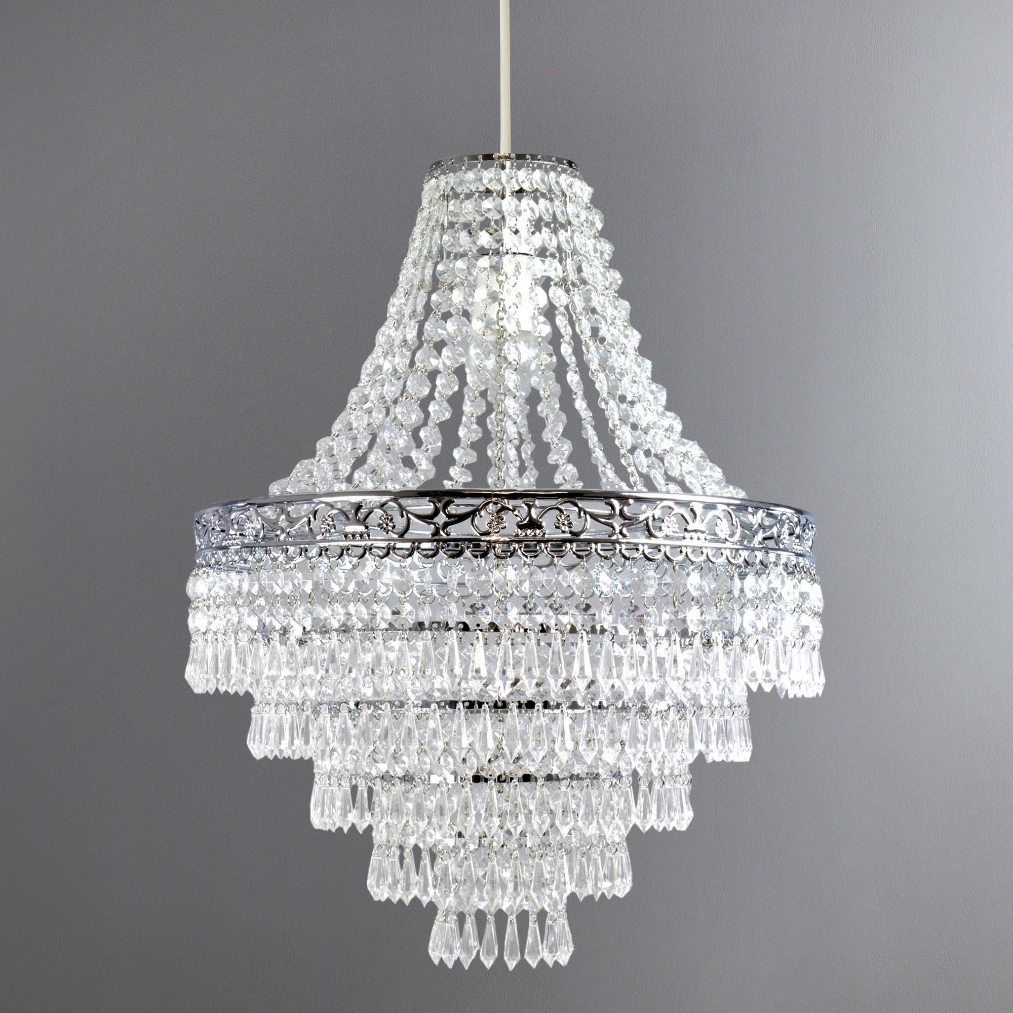 Click to view product details and reviews for Blenheim 47cm Chandelier Easy Fit Pendant Silver.