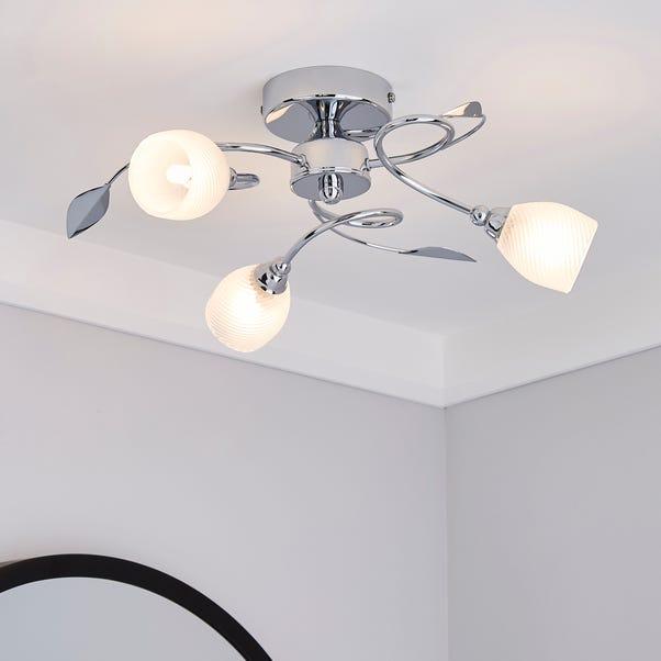 Swirl 3 Light Chrome Semi-Flush Ceiling Fitting Silver