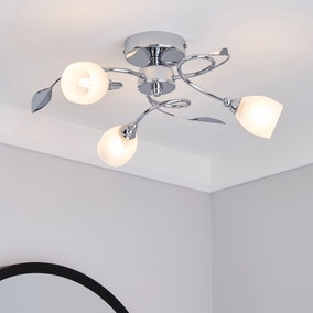Swirl 3 Light Chrome Semi-Flush Ceiling Fitting