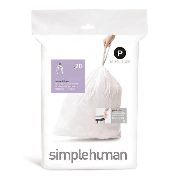 simplehuman P 50-60 Litre Bin Liners White
