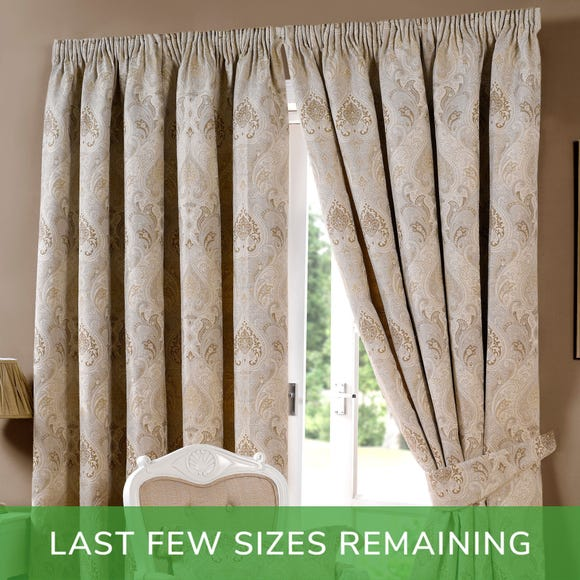 Novello Beige Pencil Pleat Curtains Beige undefined