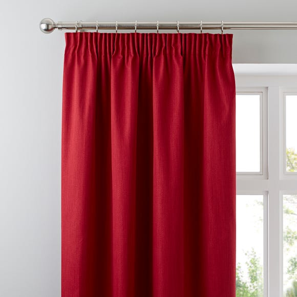Solar Red Blackout Pencil Pleat Curtains  undefined