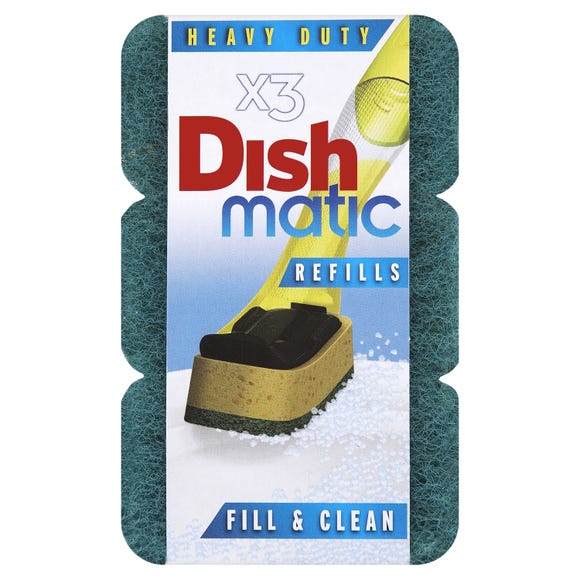 Pack of 3 Dishmatic Fill and Clean Scourer Refills Green
